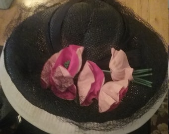 1950's, size 22, wide brimmed black straw hat,
