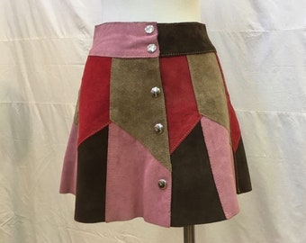 """1960s, 24"""" waist, multi colored suede leather mini skirt."""