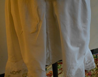 1890's-1900, one size drawer string bloomers, of white lawn cotton