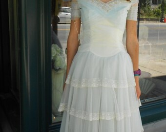 "1950's, 32"" bust, baby blue and white, pleated and lace edged wedding gown"