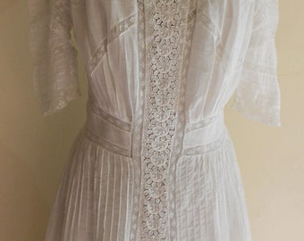 """1905, 38"""" bust, batiste cotton and inserted lace """" lingerie"""" dress"""