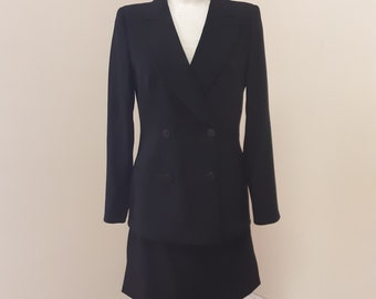 "1990s, 34"" bust, black double breasted wool crepe Armani suit."