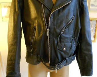 """1980s leather moto  42"""" chest, black  leather motorcycle jacket"""