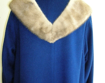 "1950's Medium sized, bright blue, pure wool coat, with ""pastel"" (light gray) mink collar"