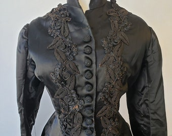 "1880s, 38"" bust, black silk satin, full length bustle back coat"