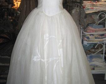 """1950's, 32"""" bust, off white silk organdy wedding gown."""