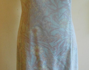 "1960's, 38"" bust, cotton chintz of pale blue background with violet and white floral print"