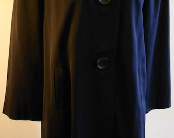 "1940's, 40"" chest navy blue wool gaberdine fall weight coat"