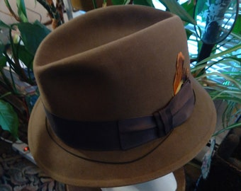 1950s, size 7 1/2, light brown felt man's hat
