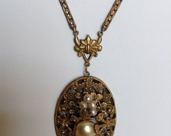 Beautiful early 1900's brass filigree necklace