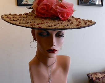 1930's, size 22, pin wheel straw hat