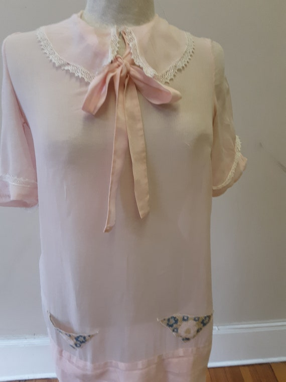 "1920s, 36"" bust, pink cotton voile dress"