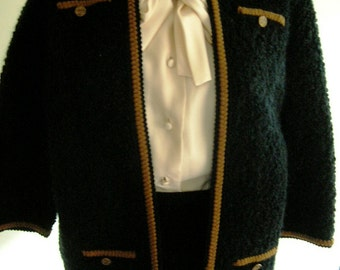 """1960's 38"""" bust med/ large bouclé wool black suit, edged in gold braid"""