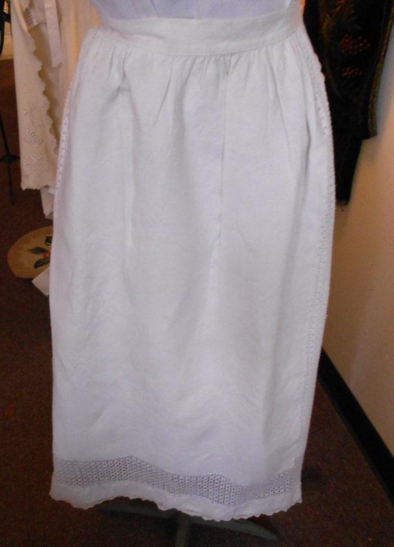1890's, adjustable waist, full length white linen