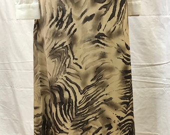 """1990s, 30"""" waist, ecru and black abstract animal print silk skirt."""