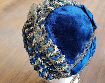 """1870s,11"""" wide x 12"""" long, royal blue velvet bonnet"""