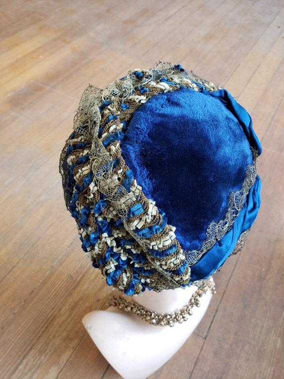 """1870s,11"""" wide x 12"""" long, royal blue velvet bonne"""