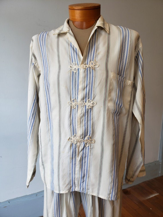 "1940s, 42"" chest, rayon striped men's pajamas."