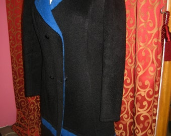 """1970's, 36"""" bust, wool alpaca double breasted coat, black with bright blue strip at knee."""