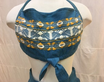 """1950s, 32"""" bust , 2 piece blue linen playsuit"""