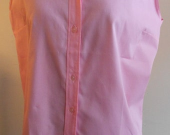"""1950's, 38"""" bust, bright pink combed cotton sleeveless blouse."""
