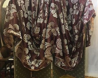 1940s, 4 yards long, brown rayon satin brocade