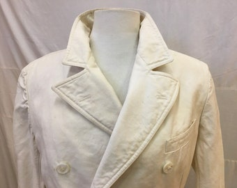 """1920s  36"""" chest, off white linen double breasted jacket"""