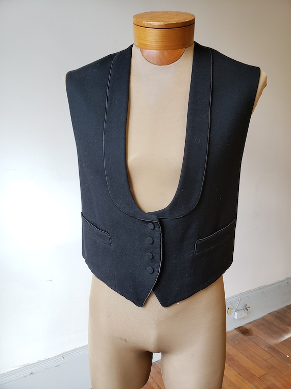 "1900s, 40"" chest, black wool formal vest"