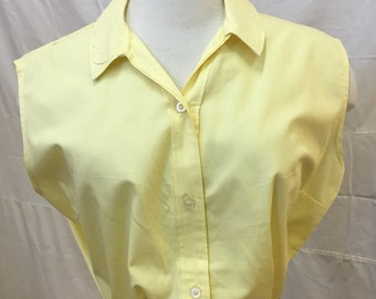 """1950s, 38"""" bust, yellow cotton blouse."""