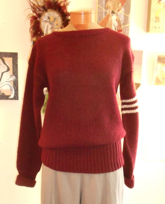 "1950's , 42"" chest, hand knit maroon rugby sweater"