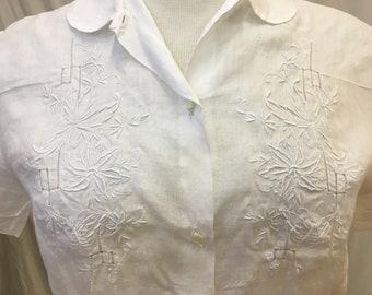 """1950s, 36"""" bust, white linen blouse"""