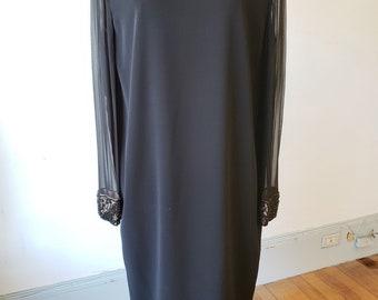 "1980s, 38"" bust, black chemise dress"