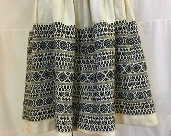 """1950s, 26"""" waist, hand loomed linen embroidered skirt from Guatemala"""