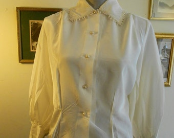 """1950's, 36"""" bust, white rayon blouse, with wide pointed collar,"""