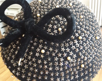 1950s, size22, brown felt beret with small pearl beads and star shaped sequins covering entire hat