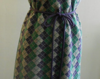 """1960's, 38"""" bust, purple, green and gray square argyle polyester print, chemise dress."""