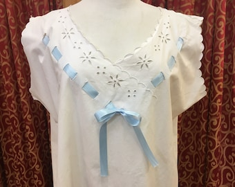 "1920s, 48"" bust, white cotton chemise"