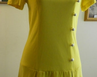 """1960's, 32"""" bust, ultra bright yellow polyester dress"""