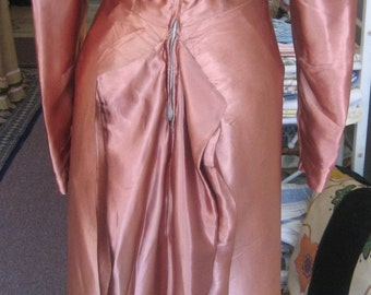 """1940's, 34"""" bust copper colored rayon satin dress, late 1940's"""