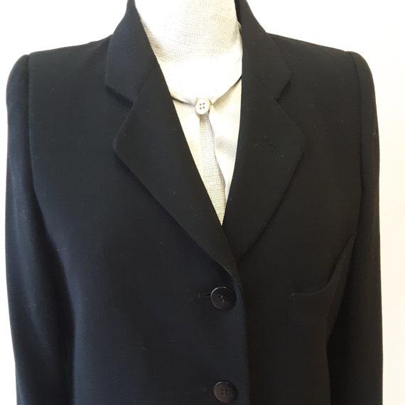 """1980s, 38"""" bust, black wool crepe Armani suit"""