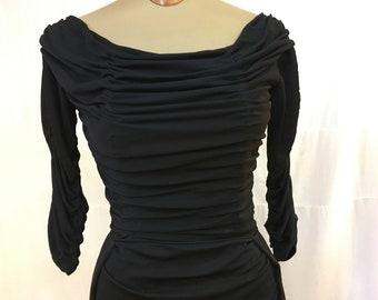 """1947, 34"""" bust, black silk semi formal dress"""