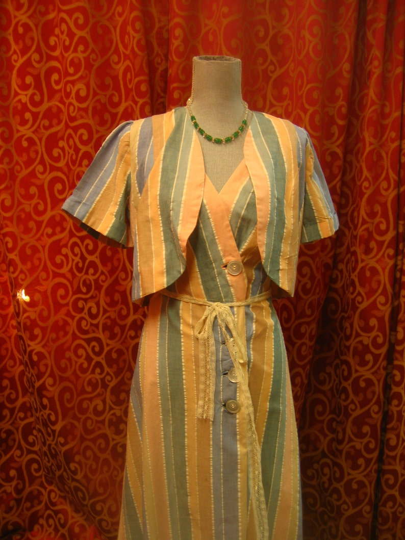 34 bust two piece cotton striped sun dress 1950/'s