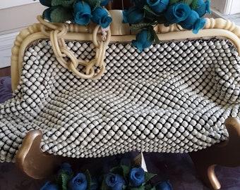 "1930s, 6"" long 10"" wide, white metal mesh  enameled purse"