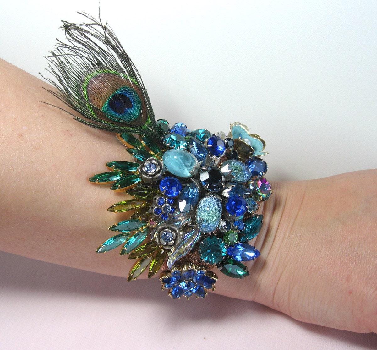 Peacock Wedding Ideas Etsy: Jeweled Peacock Wedding Bracelet Cuff From Vintage Jewels
