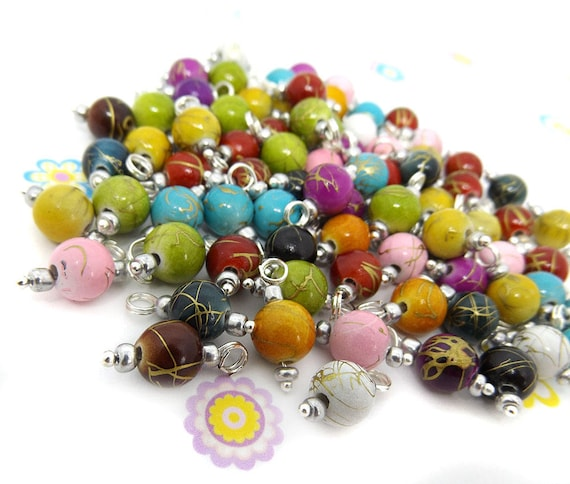 100pcs acrylic drawbench 7mm mix colour oval beads jewellery making craft UK