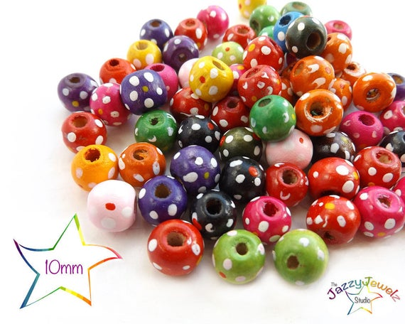 10mm Wooden Beads Pack Of 150 Mixed Colour Beads For Kids Kids