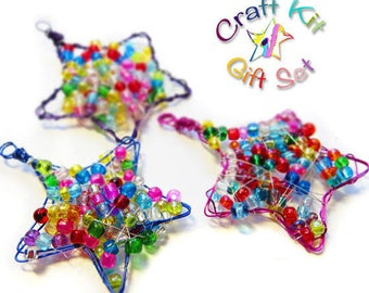 Kids Craft Kit, Set of 3 DIY Christmas Decorations, Craft Kit Gift Set, Beaded Star Ornament kit, Holiday Craft, Xmas decoration kit