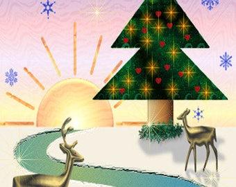 Winter Painting ACEO Deer in the Snow, Winter Sunrise, Evergreen Tree, Miniature art, Original Graphic Design Art Card