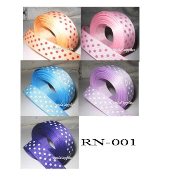 GROSGRAIN RIBBON  5 YARDS OF 7//8 INCH SWISS DOT FOR HAIR BOWS 17 COLORS CRAFTS