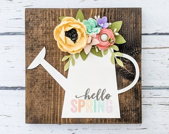 Hello spring watering can sign with felt flowers